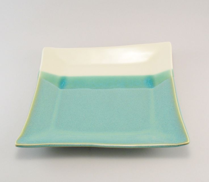 Serving Platter, Ceramic Platter, Ceramic Serving Tray, Square Plate, Jade Plate, Teal Plate, Ready to Ship by cherylwolff on Etsy https://www.etsy.com/listing/213768902/serving-platter-ceramic-platter-ceramic
