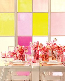 All you need is love -- and a sheer, pretty palette. Here, shades of citrus and pink illuminate centerpieces, escort cards, cocktails, and even a cake. It's a celebration that requires just your favorite hues and a few transparent materials to make a splash.