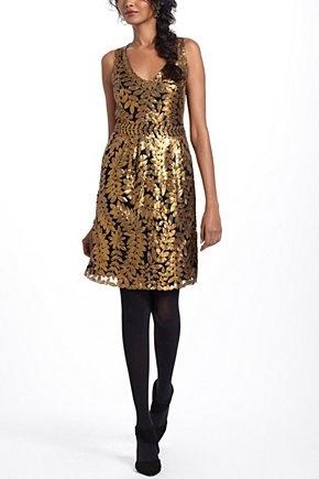 Gold Leaf Cocktail Dress | Anthropologie.eu