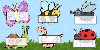 Editable Self Registration Labels (Insects) - Self registration, register, minibeasts, minibeast, editable, labels, registration, child name label, printable labels