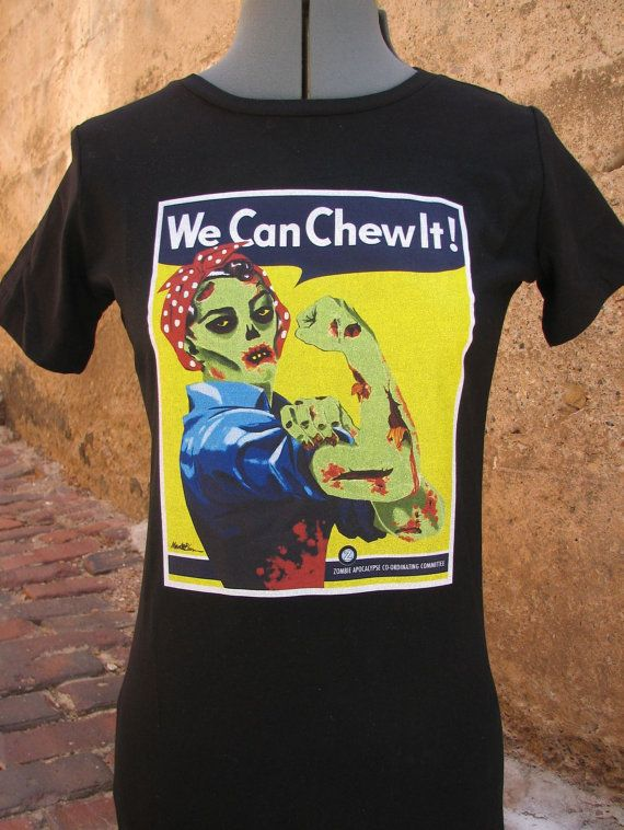 Zombie Shirt - Zombie Rosie the Riveter  We Can Chew It T-Shirt