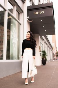 cute & little | petite fashion blog | black crop top, white culottes, white pumps | dressed up outfit - Playing With Proportions & My Favorite Crop Top Outfit by Dallas petite fashion blogger cute and little