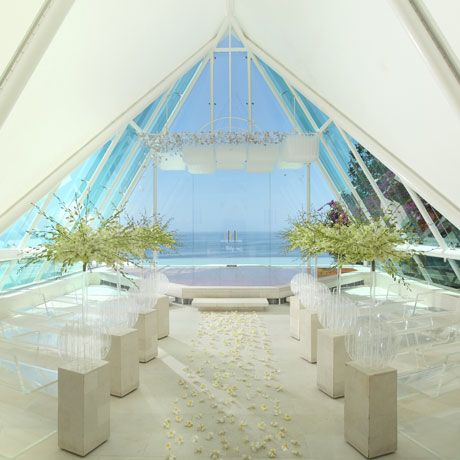Weddings and events in Bali with Tirtha Bridal - Aisle decoration with Dendrobium Savin