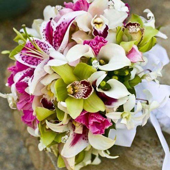 bruidsboeket orchidee calla lelie