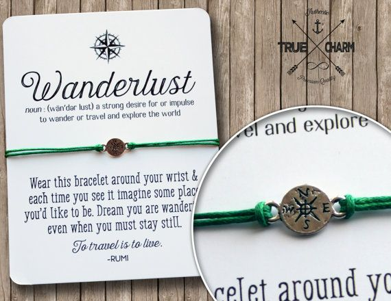 This magical compass bracelet is perfect to inspire the Wanderlust in anyone! Perfect gift for everyone you know! Not all who wander are lost! Buy any