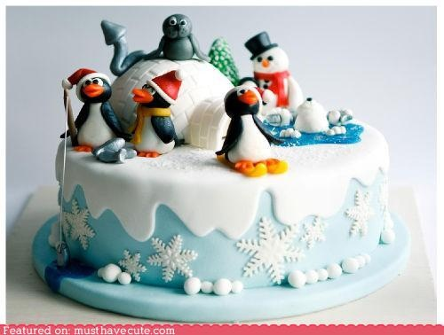 Combine with Thomas train theme for boys birthday cake and let thomas come out of the iglo