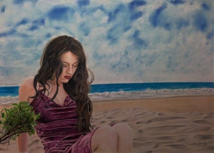 Beauty On The Beach - This beautiful drawing was created by using colored pencils and pastels.