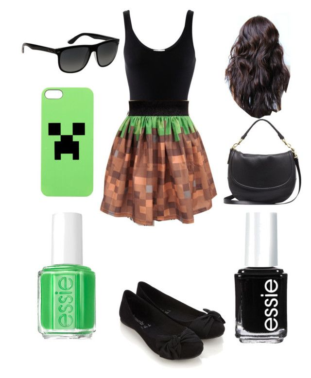 """""""Minecraft outfit"""" by jenna-bo-benna ❤ liked on Polyvore featuring Minecraft, iHeart, Accessorize, Mulberry, Ray-Ban and Essie"""
