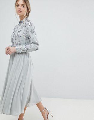5ec19eb885f2 Floral Embellished Bodice Long Sleeve Midi Skater Dress in 2019 ...