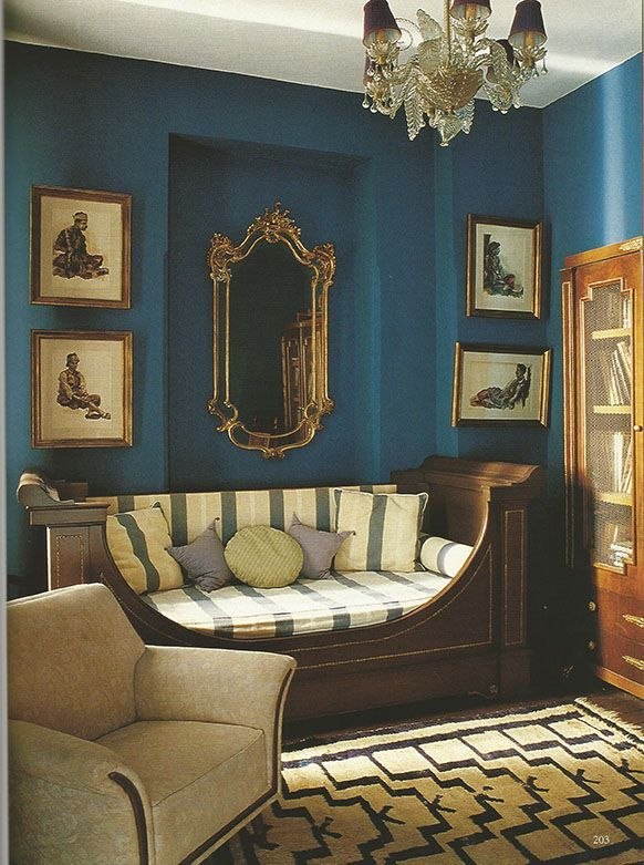 World of Interiors; teal with antique prints.