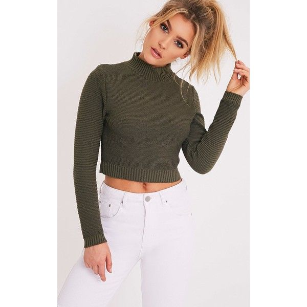 Zuly Khaki Cropped Knitted Jumper ($15) ❤ liked on Polyvore featuring tops, sweaters, green, jumpers sweaters, thick knit sweater, green sweater, khaki green top and khaki crop top