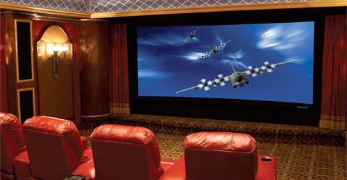 Cool home theater with Draper screen.