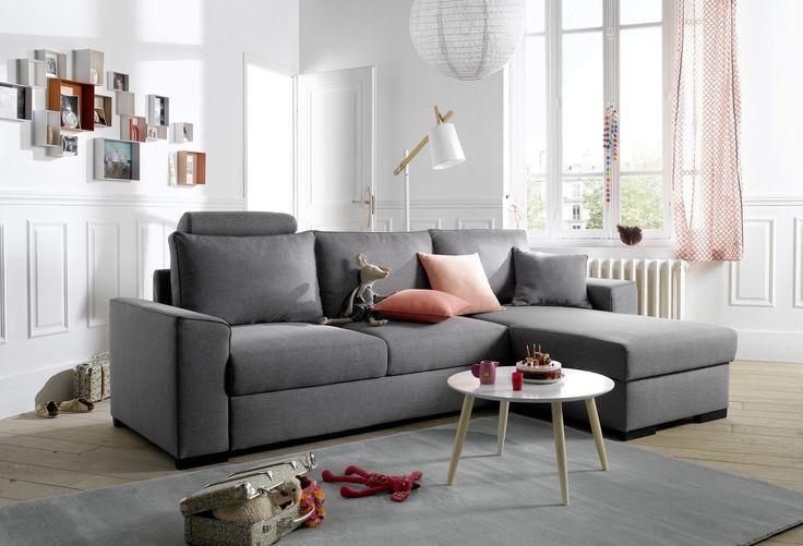 Pour une grande surface, optez pour un canapé d'angle spacieux et confortable ! Idéal pour toute la famille ! Canapé angle convertible méridienne réversible JUNE Tissu Sawana Gris clair - BUT