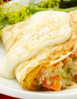 Crab and Mozzarella Crepes: Need is a Shellfish (prawns,crab meat) with any mild, white cheese always go well together. Take a ready-made crepes for super-fast cooking!