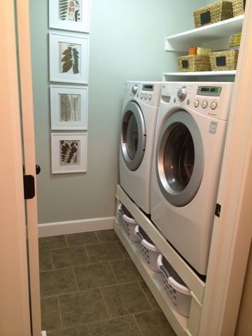 DIY Laundry Room Pedestal: Great storage idea for little laundry rooms...like ours. Sadly, the link doesn't work, but still a good idea.
