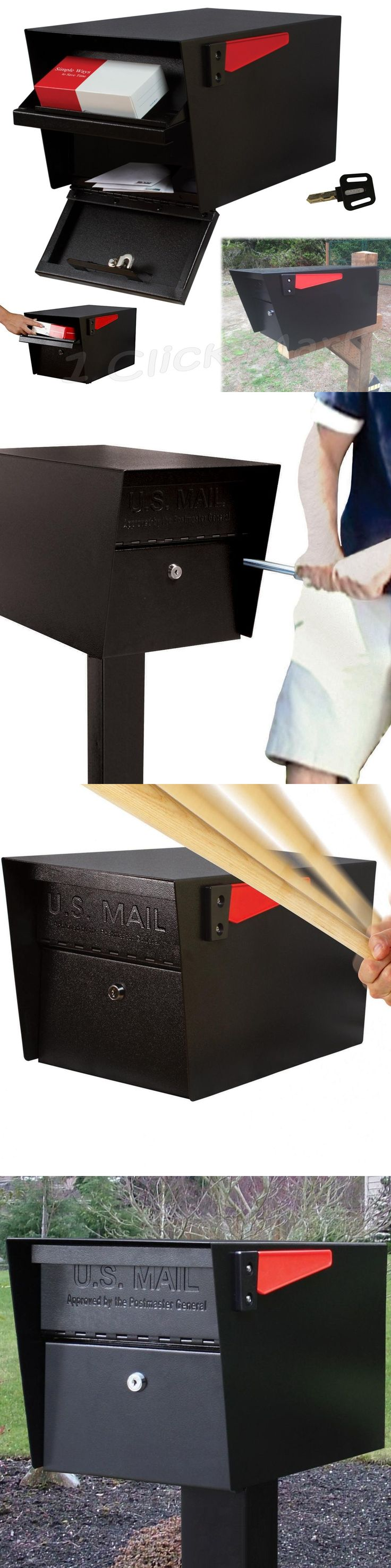 Mailbox stainless steel locking mail box letterbox postal box modern - Mailboxes And Slots 20599 Large Rural Mailbox Street Roadside Oversize Black Lock Mail Box Parcel