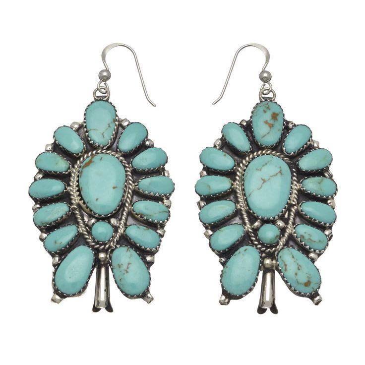 Boucles d\u0027oreilles Navajo, turquoises sur argent. I Harpo Paris