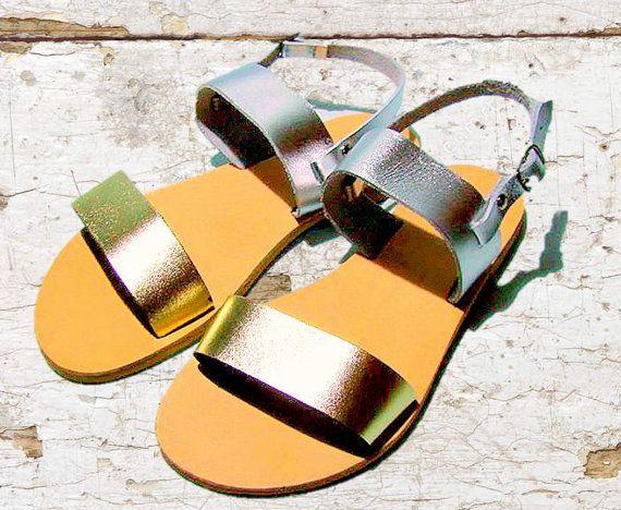 Greek Gold Silber Ledersandalen Sandaletten Damen goldene