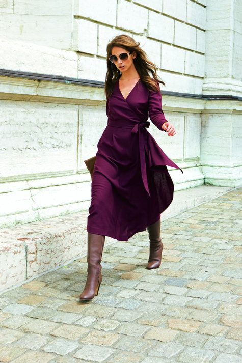 Purple wrap dress and brown boots  Brown Dress ...well, this dress is nowhere to be seen on their website, but i love the look!