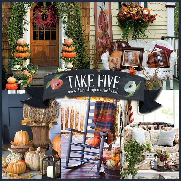 The Cottage Market: Five Fabulous Fall Porches  http://www.thecottagemarket.com/2013/09/five-fabulous-fall-porches.html