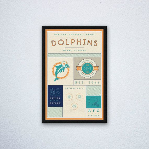 Miami Dolphins Stats Print by DesignsByEJB on Etsy