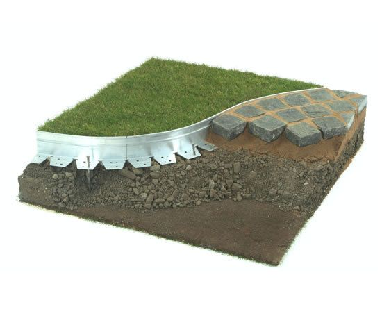 Adjustable metal lawn edging, for a clean yard and patio separation