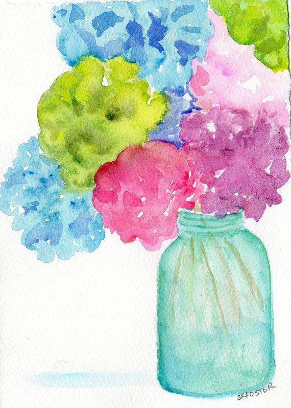 Hortensias en Aqua Mason jar Original, acuarela bodegones flores pintura en conservas frasco