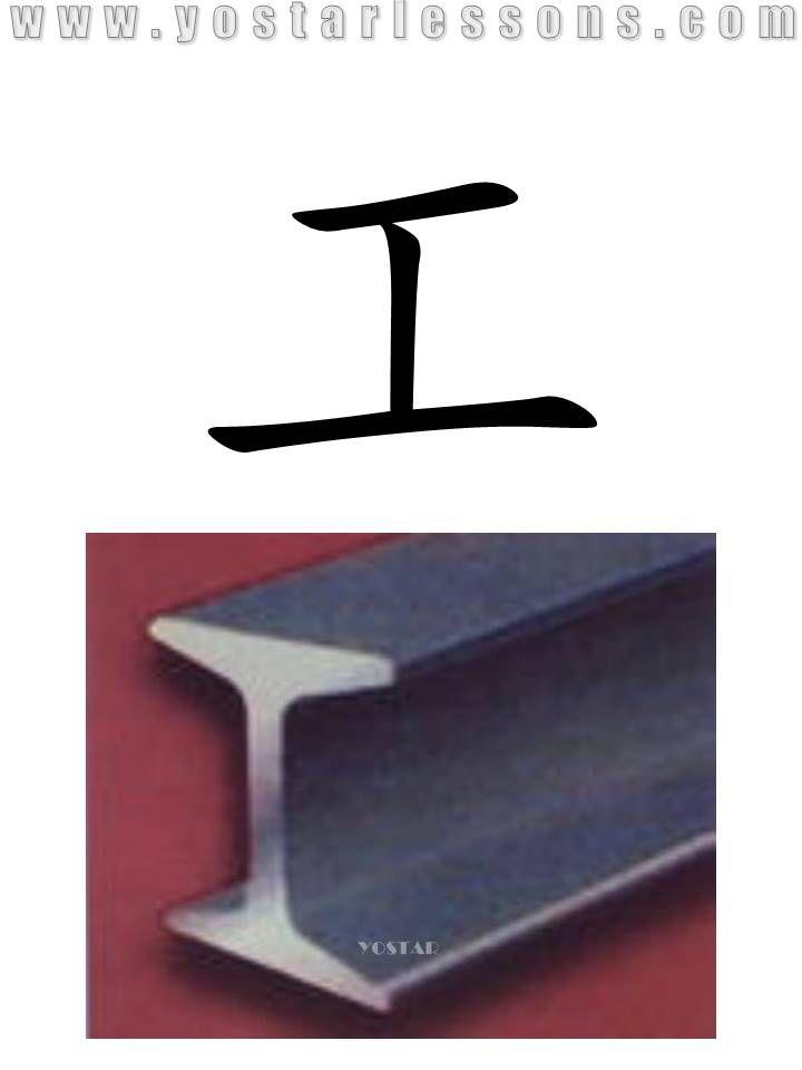 工 = work. Shaped like the section view of the train rail. Detailed Chinese Lessons @ www.yostarlessons.com