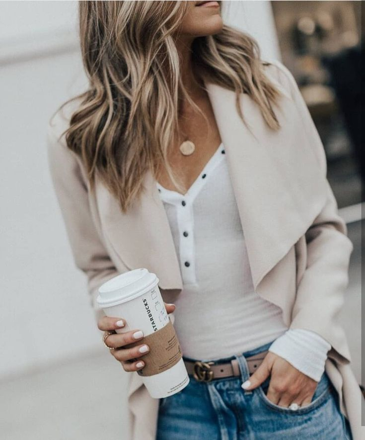 Neutral style denim jeans summer hair spring fashion comfy coffee