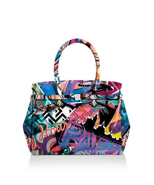 Our iconic tote just got bigger! The Miss 3/4 is the roomier version of our iconic tote. Perfect for women who never have enough room! Light, versatile and available in 30 colours.  Size  395 x 340 x 190 mm  510g  Made in Italy  Vegan Friendly  Made from Poly-Lycra Fabric   Graffiti  https://savemybag.com.au/collections/bags/products/miss-3-4-graffiti