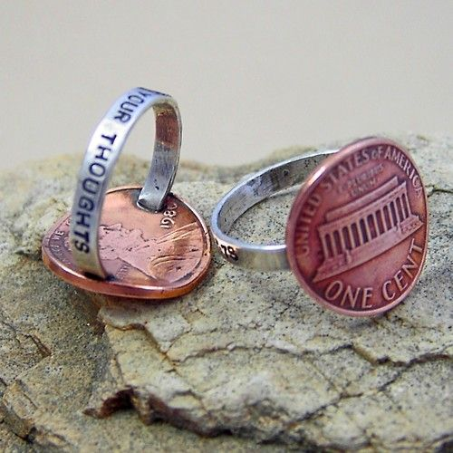 Penny rings: Ideas, Craft, Style, Pennies, Penny Rings, Jewelry, Thoughts Ring, Diy