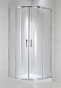 Sprchový kout CUBITO PURE 253242 90 x 90 x 195 cm, čtvrtkruh, stříbrný lesklý profil, radius 550 mm (transparentní sklo 253242###6681 | sklo arctic 253242###6661); existuje i 100x100 CUBITO PURE 253243