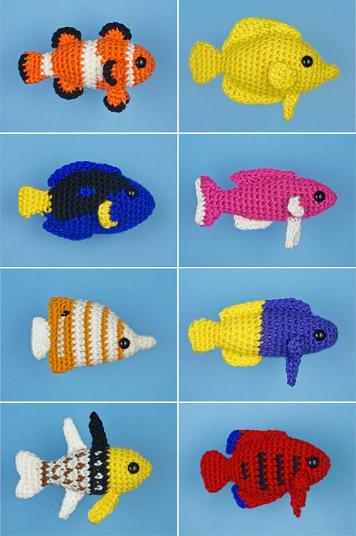 Tropical Fish Sets 1-4: EIGHT amigurumi fish crochet patterns : PlanetJune Shop, cute and realistic crochet patterns