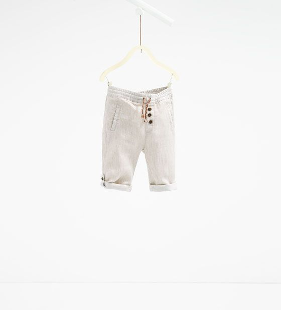 Image 1 of Linen roll-up trousers from Zara