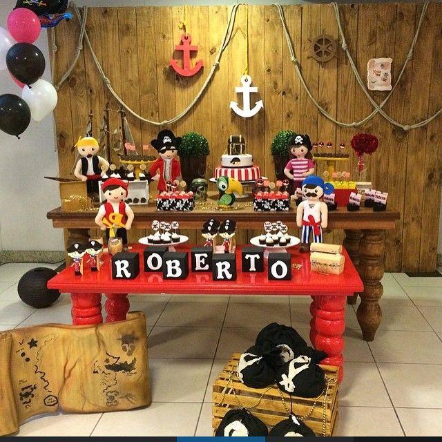 @euamofestarj arrasou na decoração de pirata. Lindo !! ❤️ tema pirata com painel…