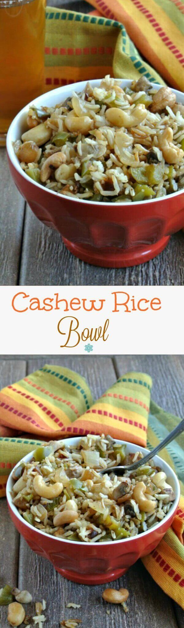Cashew Rice Bowl has an Asian Flare that satisfies your cravings. A nice bowl of comfort food is just right for family and friends.