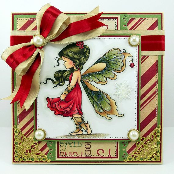Handmade Christmas card using Wee Stamps Silver Fairy! :)