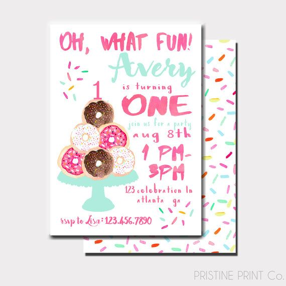 Oh What Fun! Donut First Birthday Invitation | Donut Birthday Invitation | Donut Invitation