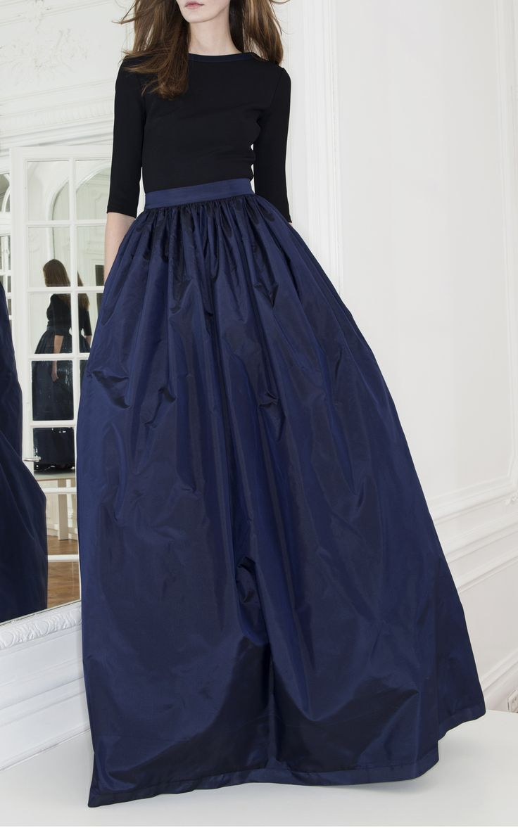 Long Taffeta Skirt by Martin Grant for Preorder on Moda Operandi - This taffeta Martin Grant skirt features ruching at the high waist and a tonal waist band.