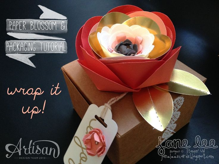 We love how this box was decorated using the Spiral Flower Die: Gift Boxes, Spirals Flowers, Bags Boxes, Packaging Tutorials, Paper Flowers, Paper Blossoms, Blossoms Tutorials, Su Gifts Boxes, Flowers Gifts