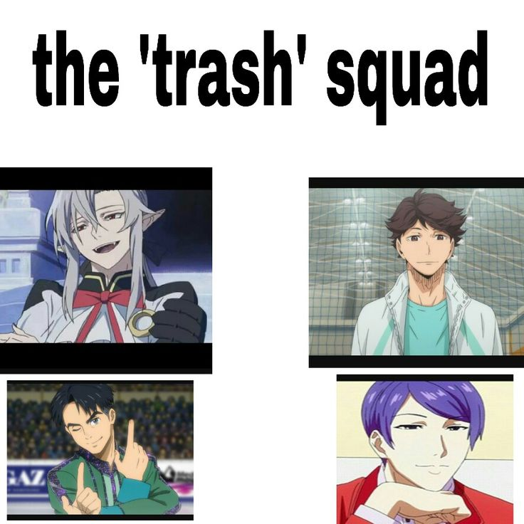 Owari no seraph (top left) Haikyuu (top right) Yuri on Ice (bottom left) Tokyo Ghoul (bottom right) THIS IS ACCURATE AS HELL