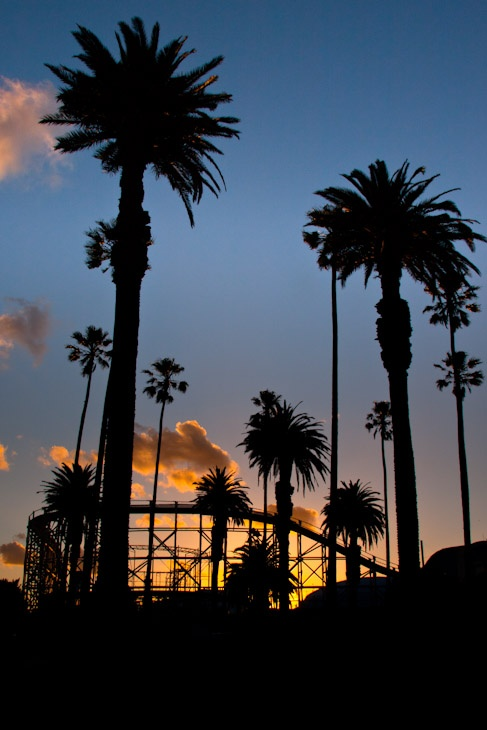 Sunset over Luna Park's rollercoaster- St Kilda, Melbourne, Victoria