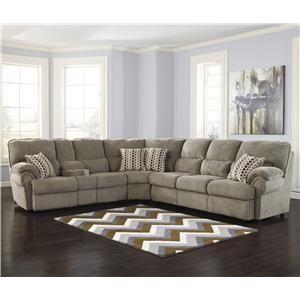 Signature Design by Ashley Comfort Commandor - Mocha Sectional w/ Recl. Loveseat & Sleeper Sofa
