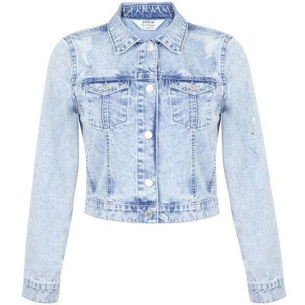 Miss Selfridge Bleach Ripped Denim Jacket found on Polyvore