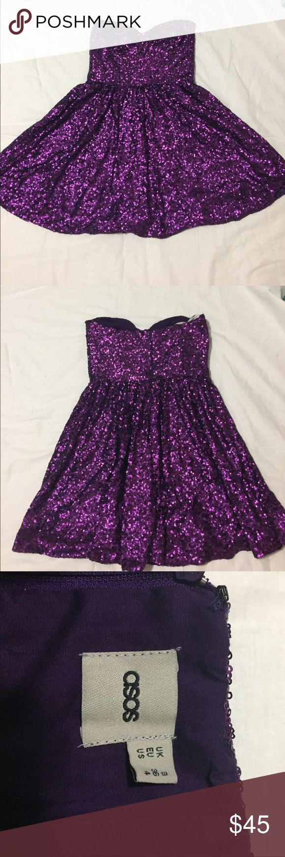 ASOS Purple Sequin Party Mini Dress Fabulous party dress! Perfect for homecoming or going out for some dancing! Excellent used condition! Skirt length is 16.5 inches. Fully lined. Waist is 13 inches. Full dress length is 25 inches. US size 4. Smoke free, pet free home. Ship same or next day. Bundle 2+ for 10% off! Feel free to ask questions or make an offer! Asos Dresses Strapless