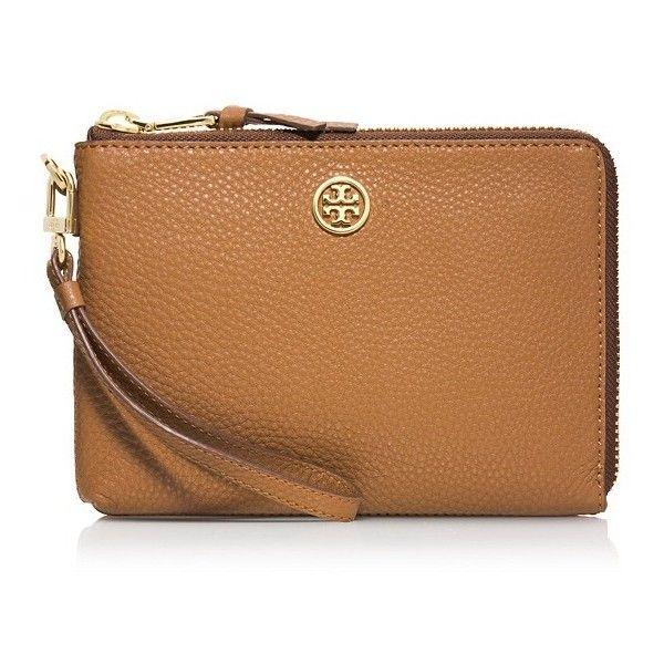 Tory Burch Robinson Pebbled Large Wristlet ($185) ❤ liked on Polyvore featuring bags, handbags, clutches, tan, zipper wristlet, tan handbags, beige handbags, tan purse and tory burch