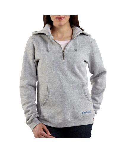 Every barn girl loves her Carhartts. Women's Quarter-Zip Script Logo Sweatshirt