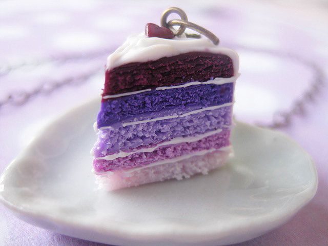 Miniature Cake Necklace _ Pink & Purple Layered _ Miniature Food _ Polymer Clay _ Foodie Gift by MarisAlley on Etsy