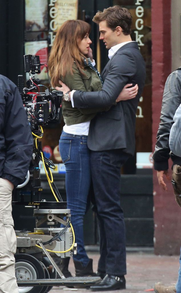 Fifty Shades of Grey Pics: Dakota Johnson and Jamie Dornan Get Close for First of Many Love Scenes | E! Online Mobile