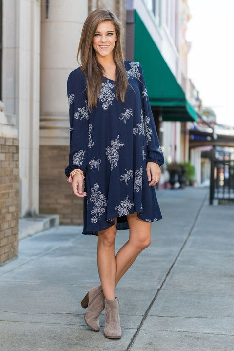 """""""Welcome To The Fab Dress, Navy"""" Welcome to the fab! This embroidered dress is just what you have been searching for! Floral embroidered have been a fan favorite for a little while and we see no end in sight!  #newarrivals #shopthemint"""